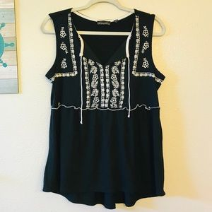 Tempted Hearts Black Boho embroidered top